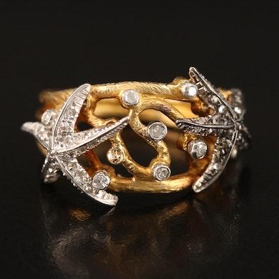 18K Diamond Starfish Ring