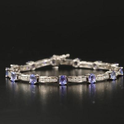 14K 1.65 CTW Tanzanite and 1.64 CTW Diamond Line Bracelet