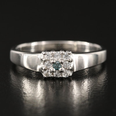 Sterling Diamond and Zircon Cluster Ring