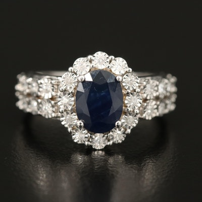 14K 1.80 CT Sapphire and Illusion Set Diamond Ring