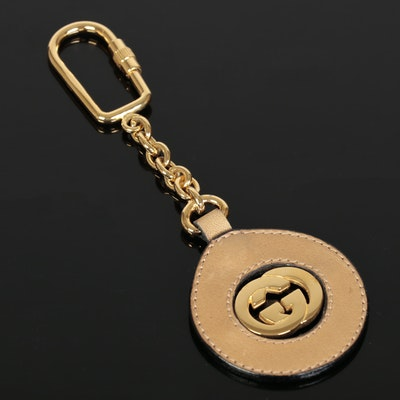 Gucci GG and Leather Trim Keychain