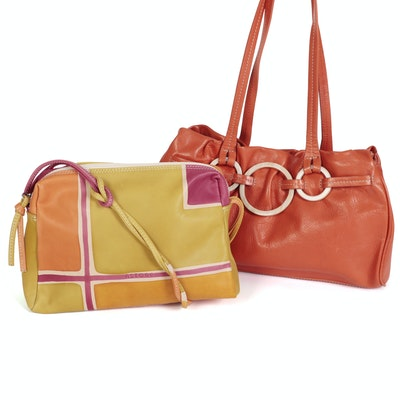 Adrienne Vittadini and Astore Shoulder Bags in Orange and Multicolor Leather