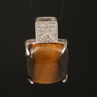 Sterling Tiger's Eye and Topaz Pendant