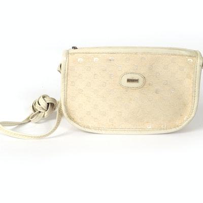 Pierre Cardin Crossbody Bag in Beige Monogram and White Leather Trim