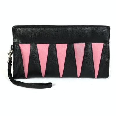 Barneys New York Wristlet in Pink and Black Leather
