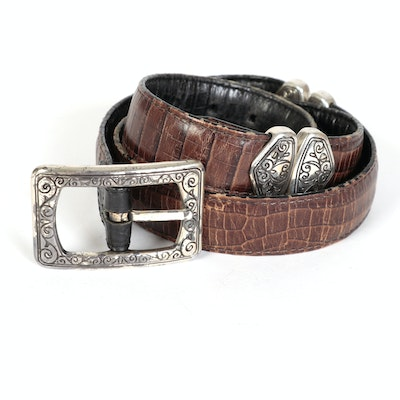 Belt in Two-Tone Croc-Embossed Leather