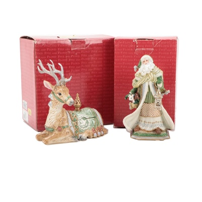 """Fitz and Floyd """"Gregorian Collection"""" Ceramic Deer Candy Jar and Santa Music Box"""