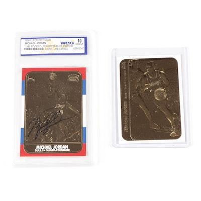 "1998 Michael Jordan Fleer ""Rookie Signature Series"" 23K Gold Card and Sticker"