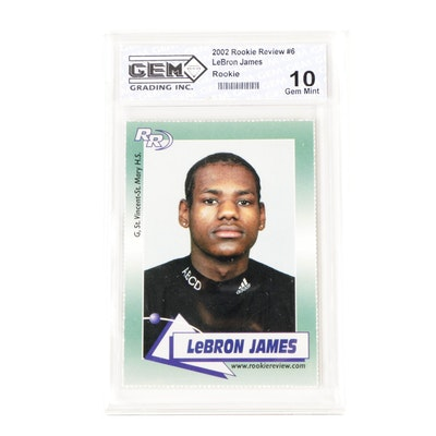 2002 LeBron James Rookie Review #6 Graded 10 Mint Basketball Card