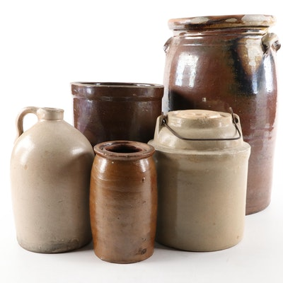 American Stoneware Picking Crocks, Jug and Other Crocks