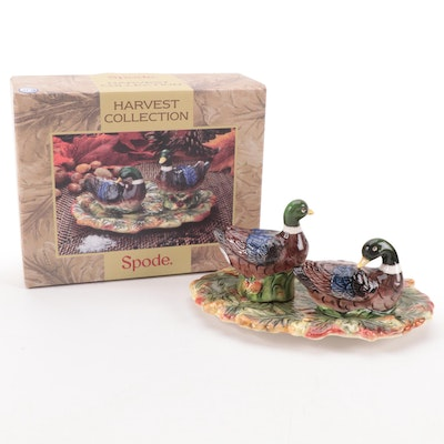 Spode Harvest Collection Duck Salt and Pepper Shakers with Tray