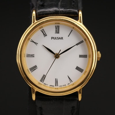 Pulsar Quartz White Roman Dial Wristwatch