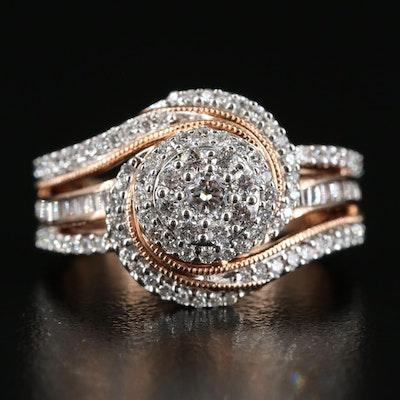 14K Rose Gold 0.75 CTW Diamond Spiral Cluster Ring