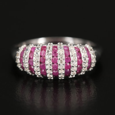 Sterling Ruby and Topaz Domed Ring