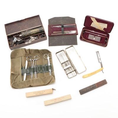 Medical Instruments Including Otoscope, Scalpels, Haemocytometer, Razor, More