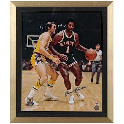 Oscar Robertson and Jerry West Signed Framed Photo Print, PSA/DNA COA
