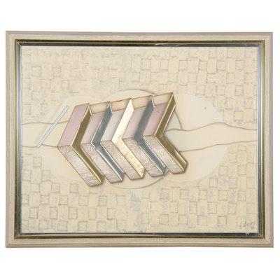 "Luis Mazzora Mixed Media Print ""Trifocal No. V,"" 1986"