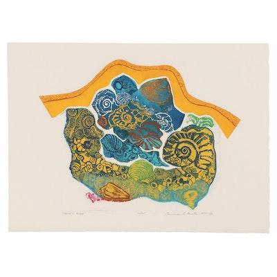 "Bernece Berkman-Hunter Color Etching With Aquatint ""Land's Edge,"" 1977"