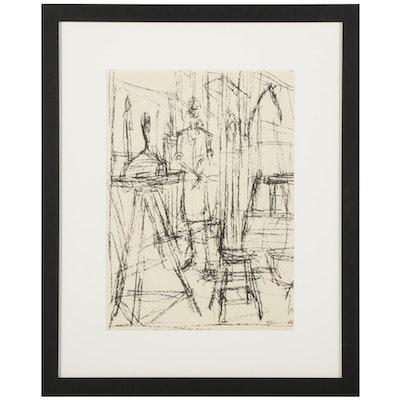 "Alberto Giacometti Lithograph for ""Derrière le Miroir,"" 1951"