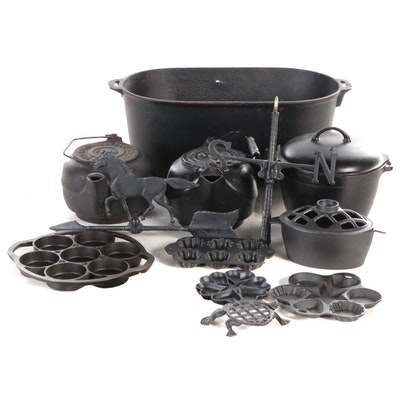 Cast Iron Hardwick Stove Co. Kettle, Dutch Oven, Weathervane and Other Cast Iron