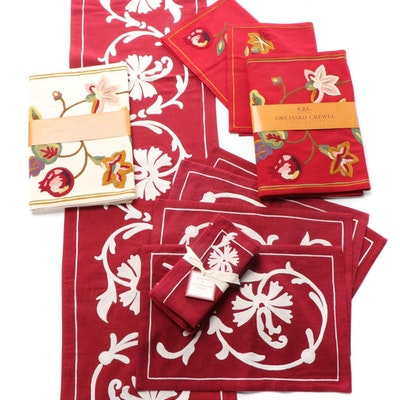 """Williams-Sonoma """"Scroll Embroidery"""" and """"Orchard Crewel"""" Table Linens"""