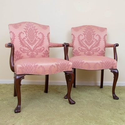 Pair of Hickory Chair George III Style Mahogany Armchairs