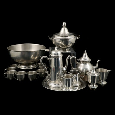 Woodbury Pewter Punch Bowl Set and Serveware, and Boardman Coffee Service