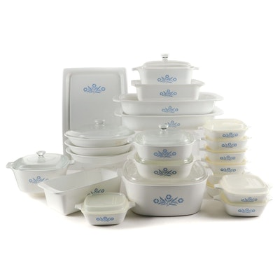 "CorningWare ""Blue Cornflower"" Ceramic Bakeware, Mid to Late 20th Century"