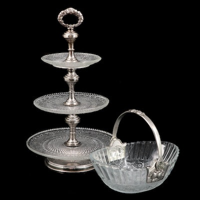 International Silver Plate Pressed Glass  Serving Tray and Oval Basket