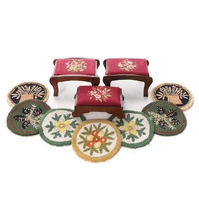 Victorian Style Needlepoint Footstools with Hooked Rug Seat Mats