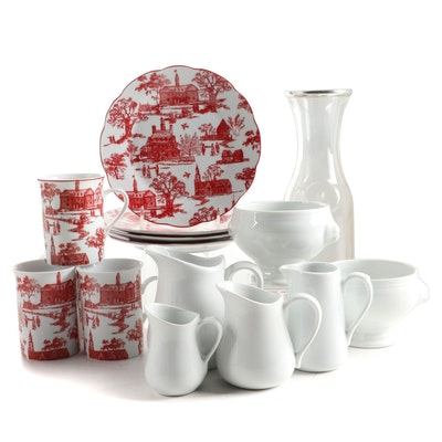 """Colonial Williamsburg """"Townscape Toile"""" Cups and Plates with Other Items"""