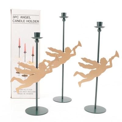 Trumpeting Angel Motif Metal Candle Holders
