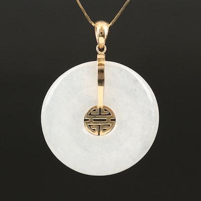 14K Bi Jadeite Pendant Necklace with Longevity Symbol