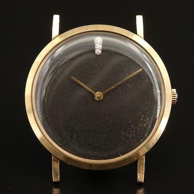 14K Omega Custom Diamond Dial Wristwatch