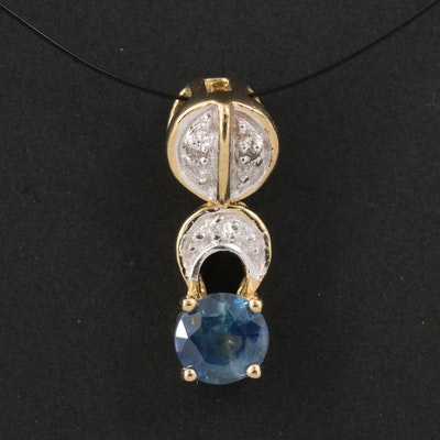 Sterling Silver and Articulated White Zircon Sapphire Pendant
