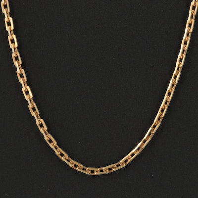 Italian 14K Rectangular Cable Chain Necklace