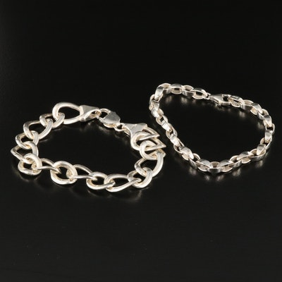 Sterling Silver Cable and Curb Chain Bracelets