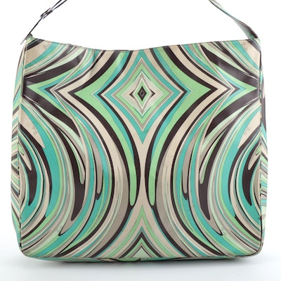 Emilio Pucci Shoulder Tote in Abstract Patterned Leather