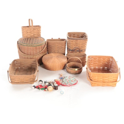 Longaberger Handwoven Wood Slat Baskets with Other Woven Baskets and Threads