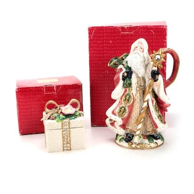 "Fitz & Floyd ""Florentine Christmas"" Santa Pitcher and ""Christmas Wreath"" Box"
