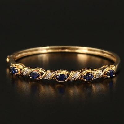 Sterling Sapphire and Diamond Braided Hinged Bracelet