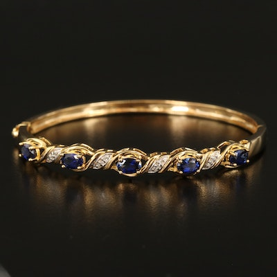 Sterling Sapphire and Diamond Braided Hinged Bangle