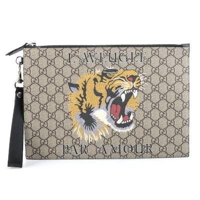 Gucci GG Supreme l'Aveugle Par Amour Tiger Zip Pouch