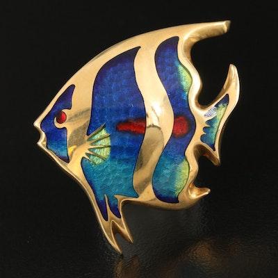 Kristinworks 18K Champlevé Enamel Angelfish Pendant