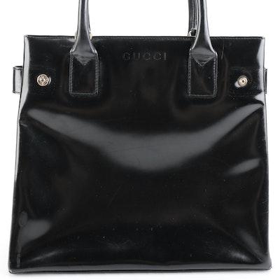 Gucci Structured Handbag in Glazed Leather with Detachable Shoulder Strap