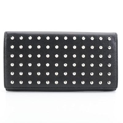 Saint Laurent Long Wallet in Black Grain de Poudre Leather with Studs