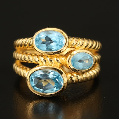 Sterling Swiss Blue Toapz Multi-Row Ring