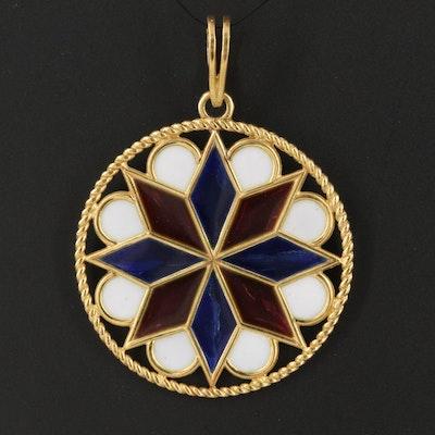 18K Italian Plique-à-jour Medallion Pendant