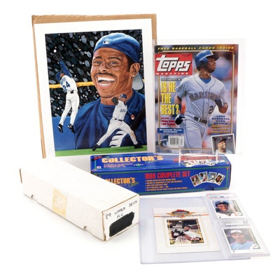 1989 Ken Griffey, Jr., Randy Johnson Graded Upper Deck Rookie Cards with Poster