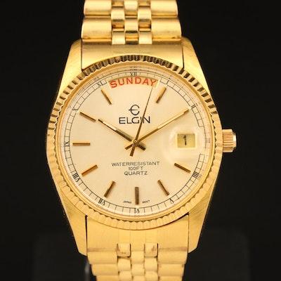 Elgin Quartz Day/Date Wristwatch